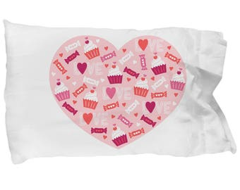 I Love You Heart Shaped Pillowcase Cupcake Candy Bedding Valentine's Day Birthday Engagement Wedding Shower Gift