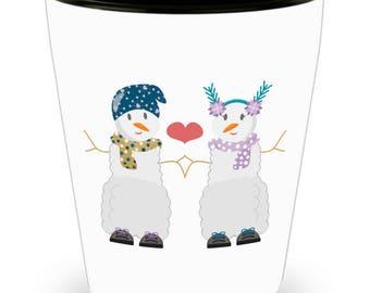 Snow Couple Valentine's I Love You Shot Glass Gift Anniversary Wedding Bridal Engagement Birthday