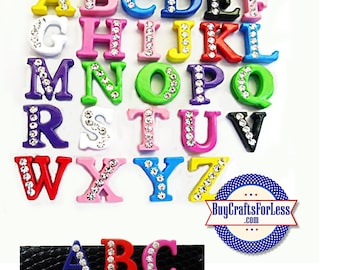 COLORED Half Rhinestone Silver Slide LETTERS for 8mm slide bracelets, collars, chokers, pendants, key rings +FREE Shipping & Discounts*
