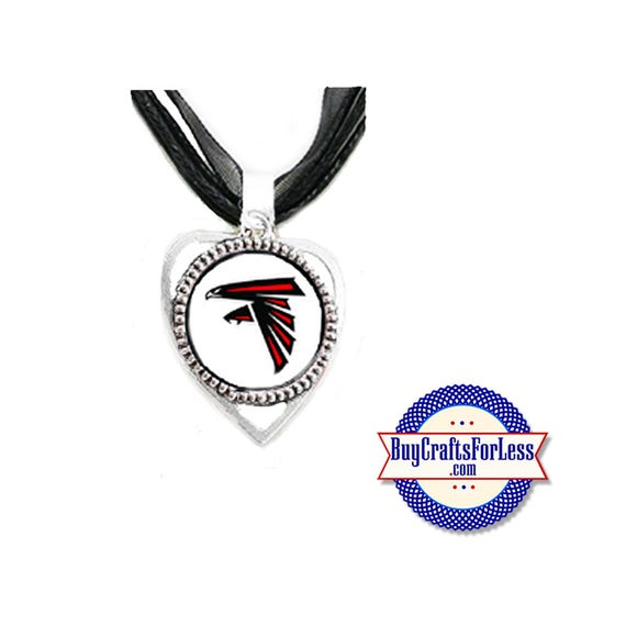 ATLANTA Football HEART PENDaNT, CHooSE Logo and with or without Ribbon Cord - Super CUTE!  +FReE SHiPPiNG & Discounts*
