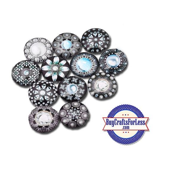 SNAP MANDALA Buttons, 12 pc assortment, 18mm INTERCHaNGABLE Buttons +FREE Shipping & Discounts