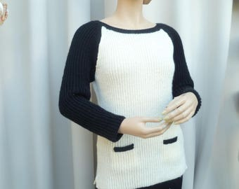 black and white jumper hand knitted