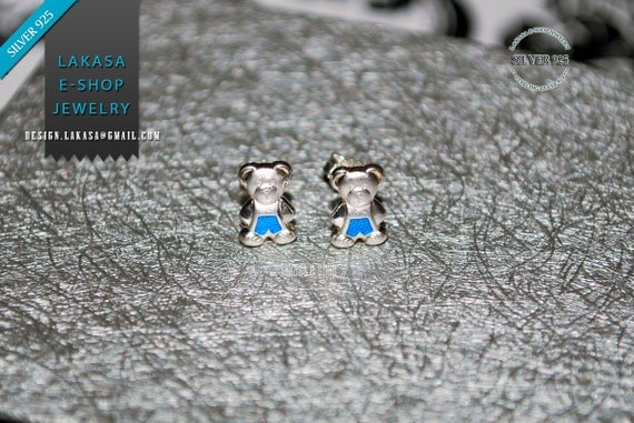 Teddy Bear Blue Enamel Studs Earrings Sterling Silver 925 Jewelry for Girls Moda Fun Color Best Gift ideas Cute Animal Birthday Kids Party