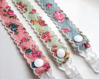 Vintage floral dummy soother clips