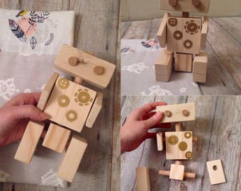 Poseable wooden robot, montessori wooden toy, CONNECTABLE Wooden ROBOT, wooden toy gift, Waldorf wooden toy, EDUCATIONAL toy, eco-friendly