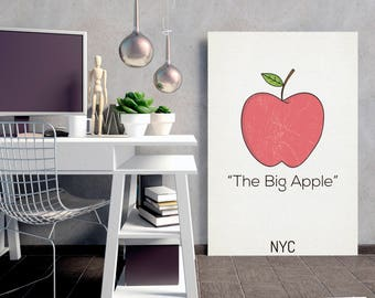 The Big Apple - New York City, Map Poster, Minimalism Poster, NYC Map Print