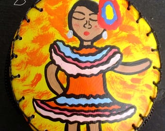 Purse craft made Totumo, with female Llanera Original artwork, hand painted, made in Colombia,