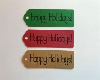 Happy Holidays Mini Tags - Happy Holidays Favor Tags - Happy Holidays Gift Tags - Christmas Party - Holiday Party Decor - Holiday Favors