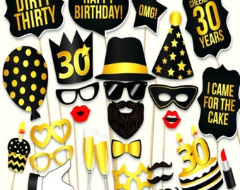 30 PCS 30th Birthday Photo Booth Props, Party Props, Photo Booth Props, Party Supplies, Party Decor, Party, Photo props, Baby Shower