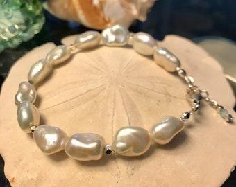 Ladies Keshi Pearl Bracelet Sterling Silver Adjustable