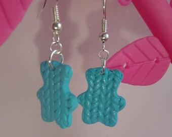 pair of earrings in polymer clay blue Teddy bear shape