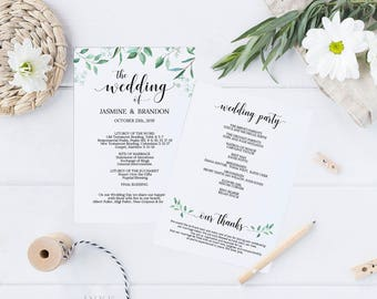 Printable Wedding Program, Wedding Program Template, Greenery Wedding, Ceremony Printable Template, Editable PDF Instant Download #E031