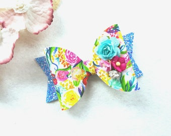 Bright Floral Bloom Glitter Bow