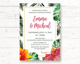 Hawaiian Rehearsal Dinner or Engagement Party Printable Invitation, Aloha, Tropical, Hibiscus Flower, Palm Leaves Custom Printable Invite