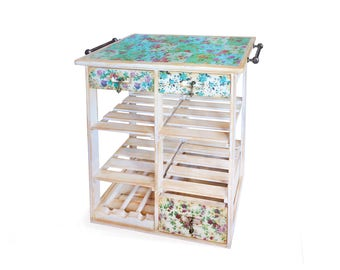 Floral Pattern Farmhouse Upcycled Kitchen Island