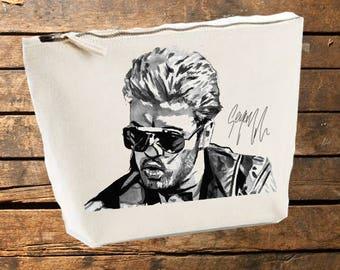 George Michael Make Up Bag, Canvas Accessory Bag, Gift, Ladies, Holiday, Toiletries, Men, WHAM. UK, USA, Music