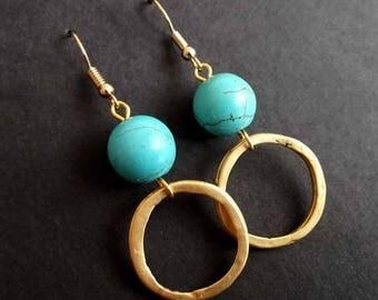 Boho Earrings | Turquoise Earrings | Tribal Earrings  |  Ethnic Earrings | Gipsy Earrings | Bohemian Earrings | Gold Plated Earrings