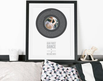 Digital File - First Dance Lyrics Personalised Record Print - Wedding gift, gift for her, anniversary gift, paper wedding anniversary gift