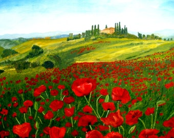 Tuscany Poppy Field Print A4