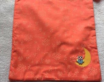 pouch bag lingerie Pajama owls orange Moon