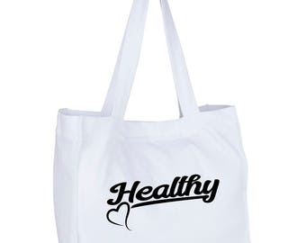 """Beach bag - gym bag """"Healthy"""" for the passionate sports and fitness, nutrition and detox"""