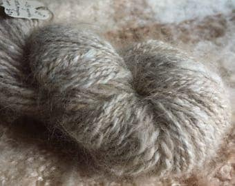 Black Tortoiseshell Handspun Angora Yarn/Sport Weight/131 yards (Creamy as Chai)