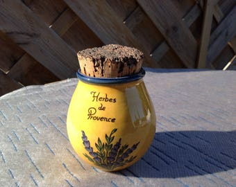Ceramic French Herb Pot  with cork stopper- French Rustic country Kitchen