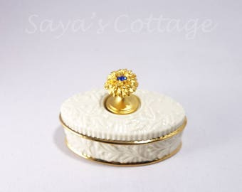 "Vintage Lenox China Treasures Collection ""September"" Birthstone Sapphire Oval Ivory Trinket Box Keepsake Box Ring Box with Gold Rims"