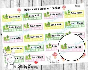 Daily Walks Tracker - Planner Stickers for Erin Condren, Happy Planner, Kikkik, Filofax (S058)