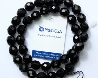 10mm Black Beads Preciosa Jet Black Czech Glass Faceted Rounds 16 inch Strand 40 Beads