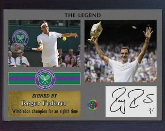 Roger Federer signed autographed 2017 Championships Wimbledon Tennis Memorabilia Framed