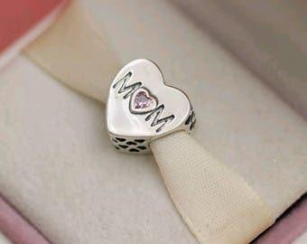 Pandora Mothers Heart w/Pink CZ Charm/New/Ale/s925