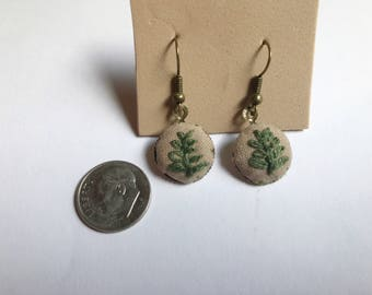 Embroidered fern earrings