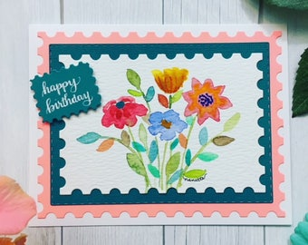 C027 - Hand-lettered Watercolor Handmade Happy Birthday Greeting Card