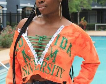 HBCU CLLCTN - Florida A&M University Orange Green Bleached Off-Shoulder Lace Up Sweatshirt