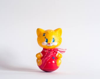 Roly Poly Toy, Roly Poly Cat, Kitsch Toy, Cat Doll, Tilting Doll, French Toy, Retro Toy, Plastic Toy, Vintage Nursery Toy, Collectible Toy