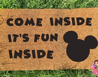 Personalized Disney doormat, Mickey Mouse Clubhouse, Wedding Gift, Family Gift, Engagement Gift, Come inside it's fun inside door mat,custom