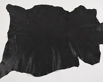 Peau de cuir d'agneau velours noir brillant