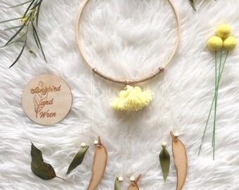 Tassel Wall hoop - small - yellow gum blossom - australian botanical - australian woodland - australiana decor - australian flora -