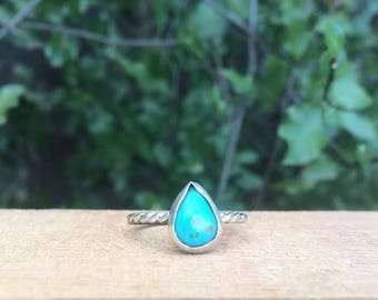 Sterling Silver Turquoise Ring / Sterling Silver Ring / Turquoise Stack Ring / Little Turquoise / Pear Shaped Turquoise / Small Turquoise
