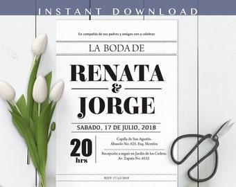 Invitaciones de Boda, Spanish Wedding Invitation, Invitacion de Boda editable, Type, Block, Print at home, Invitación en español