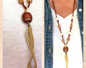 Clay & leather tassel necklace