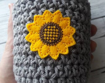 Crochet coffee cozy, sunflower cup cozy, coffee sleeve, mom gift, crochet coffee sleeve, mug cozy, Mother's day, gift for her