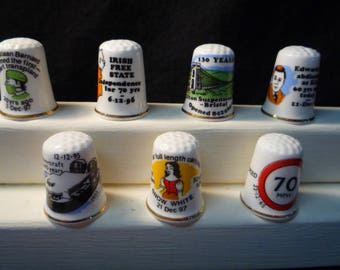 Thimbles Historic Days in December Set of 7 Commemorative Birchcroft Fine Bone China Thimbles