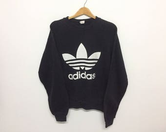 Sale!! Sale!! Vintage 90s Adidas Sweatshirt Big Logo Black White Small Mens Rare