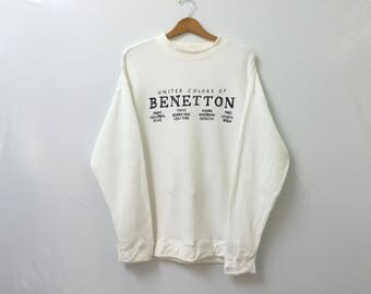 Sale!! Sale!! Vintage United Colour Of Benetton Sweatshirt Spell Out Rare