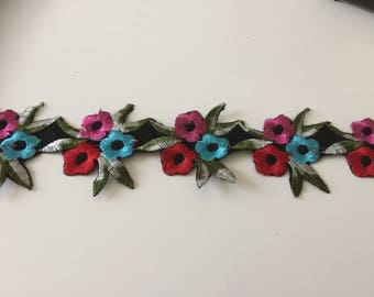 Fusible embroidered Ribbon of 7 cm in width with stick iron