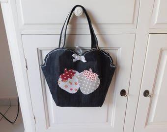 Strawberry black denim handbag
