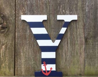 Nautical letters, nautical decor, anchor design, nautical letter, nautical theme, nautical gift, wall decor, home decor, navy gift