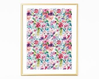Colorful  Nursery Art, Flowers Watercolor , Abstract Flowers Art, Printable Floral Wall Art, Nursery Wall Art, Watercolor Floral Art Print